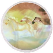 Horses In A Pearly Mist Round Beach Towel