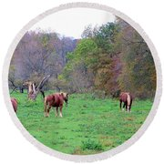 Horses In Autumn Amish Country Round Beach Towel