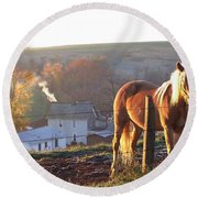 Horses In Autumn Frosty Sunrise Round Beach Towel
