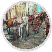 Horses In Florence Round Beach Towel