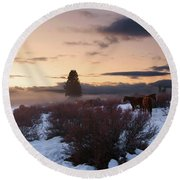 Horses In Snow At Sunset Round Beach Towel