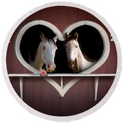Horses In Stable Round Beach Towel