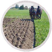 Horses Plowing Rows Two  Round Beach Towel