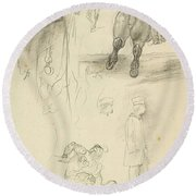 Horses Riders And A Young Man Round Beach Towel