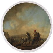 Horses Startled By A Dog Ca Round Beach Towel