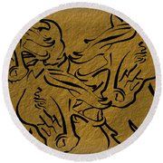 Horses Three Round Beach Towel