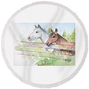 Horses Watercolor Sketch Round Beach Towel