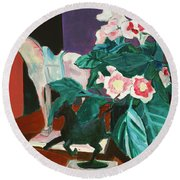 Horses With Floral Round Beach Towel