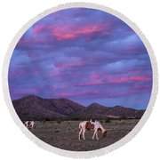 Horses With New Mexico Sunset Round Beach Towel