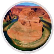 Horseshoe Bend Filters Paint  Round Beach Towel