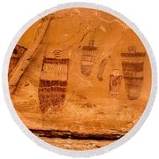 Horseshoe Canyon Great Gallery Group 3 Pictographs Round Beach Towel