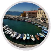 Horseshoe Pattern Of Moored Boats At The Inner Harbour Of Piran  Round Beach Towel