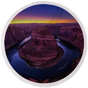 Horseshoe Sunset Round Beach Towel