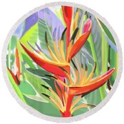 Hort Park Heliconia Round Beach Towel