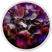 Colorful Hortensia Closeup Round Beach Towel