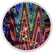 Hospital Construction Abstract #4 Round Beach Towel