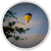 Hot Air Ballon In Oklahoma Round Beach Towel