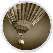Hot Air Balloon And Bucket In Sepia Tone Round Beach Towel