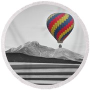 Hot Air Balloon And Longs Peak - Black White And Color Round Beach Towel