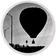Hot Air Balloon Bridge Crossing Round Beach Towel