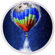 Hot Air Balloon / Digital Art Round Beach Towel