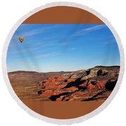 Hot Air Balloon Flight 011914iii Round Beach Towel