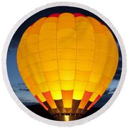 Hot Air Balloon Glow Round Beach Towel