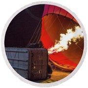 Hot Air Balloon. Inflation. Round Beach Towel