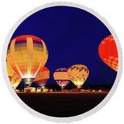 Hot Air Balloon Night Glow Round Beach Towel