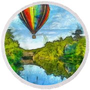 Hot Air Balloon Woodstock Vermont Pencil Round Beach Towel