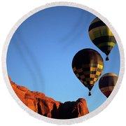 Hot Air Balloon Monument Valley 5 Round Beach Towel