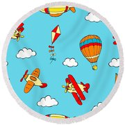 Hot Air Balloons And Airplanes Fly In The Sky Round Beach Towel