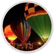 Hot Air Balloons At Night October 28, 2017 #2 Round Beach Towel