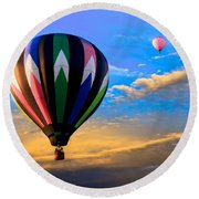 Hot Air Balloons At Sunset Round Beach Towel
