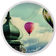Hot Air Balloons Float Over Lewiston Maine Round Beach Towel