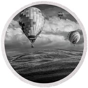 Hot Air Balloons In Black And White Over Fields Round Beach Towel