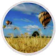 Hot Air Balloons Over A Wheat Field Round Beach Towel
