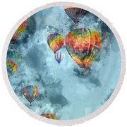 Hot Air Balloons Digital Watercolor On Photograph Round Beach Towel