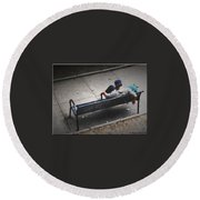 Hot And Homeless Round Beach Towel