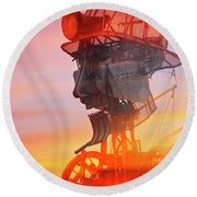 Hot And Steamy Man Engine Round Beach Towel