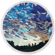 Hot August Sunrise Round Beach Towel