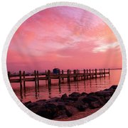 Hot Bay Sunset Round Beach Towel