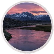 Hot Creek Sunset Round Beach Towel