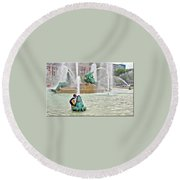 Hot Day In Philly Round Beach Towel