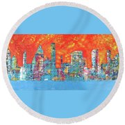 Hot Day In The City Round Beach Towel