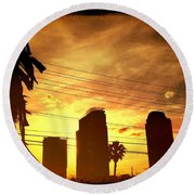 Hot Day On The Strip Round Beach Towel