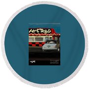 Hot Dogs And A Juke Box. Round Beach Towel