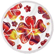 Hot Flowers Dancing Silhouettes Round Beach Towel