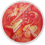 Hot Jazz Round Beach Towel