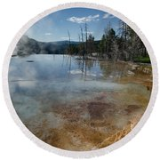 Hot Mammoth Springs Reflection Round Beach Towel